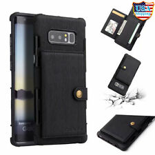 For Galaxy NOTE 8 10 S9 Plus Slim Leather Wallet Armor Case Card Slot TPU Cover