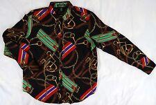Lauren Ralph Lauren Black Equestrian Horse Tack Button Shirt Ladies Size XL