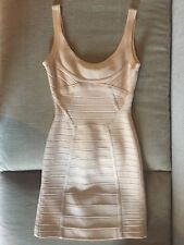 Herve Leger Bandage Dress Mini Nude Classic Scoop Neck Size XS