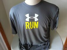 Under Armour Heat Gear gray, white, yellow short sleeve T shirt - mens large