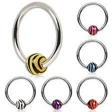 New Surgical Steel Cartilage BCR Captive Bead Ring with Zebra Tiger Stripe Ball