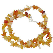 "CARNELIAN 18"" CHIP NECKLACE W/ SS CLASP A+ bead"