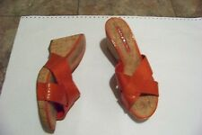womens bandolino orange skin print crosss strap wedge heels shoes size 7 1/2