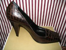 CASADEI BROWN LEATHER CROC PRINT HEELS 8 38