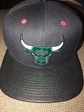 Mitchell & Ness NBA Chicago Bulls Black Faux Leather Brim Retro 11 Snapback Hat