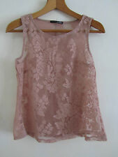 See Through Lacey Floral Brown - Pink Vest Top in Size 8 - Chest 35""