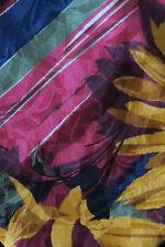 KENZO SILK TIE BURGUNDY YELLOW & BLUE FLOWERS & STRIPES A STUNNER IN EX-COND