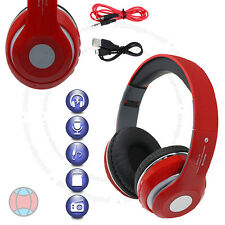 New Wireless Foldable Bluetooth Stereo Red Headphone Handsfree Call Built-In Mic