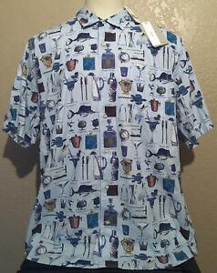 NEW Tommy Bahama Men's 2XLT Light Sky Blue Well Stocked Mixed Drinks Camp Shirt
