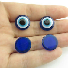 89968 60X Loose Flatback Findings Cabochon 14mm Blue Acrylic Evil Eye Religious