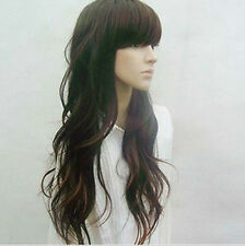 100% Human Hair New Fashion Long Dark Brown Wavy Wigs Full Wig