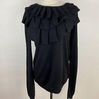 Moda International Women's Ruffle Neck Silk/Cashmere Black Jumper Size L ~A2