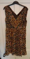 Ladies 'SO FABULOUS' Pink/Brown/Yellow sleeveless lined dress. Size 14. vgc.
