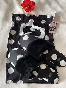 Victoria Secret Signature Satin Slippers Sandal +bag Size M 7-8 Black Polka Dot