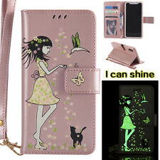 Luminous PU Flip Card Stand Case Wallet Cover For Samsung J3 J5 J7 Prime A3 A5 A