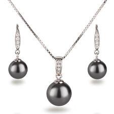 Schmuckset 925 Silber rhodiniert Perlen dunkel-grau Anhänger, Kette, Ohrhänger