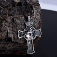 Jesus Cross Necklace Men Jewelry Religious Savior Pendant Christian Accessories