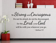 Be Strong and Courageous Wall Decal Faith Religious Quote Vinyl Sticker 134ct