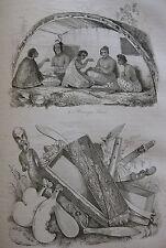1834 Voyage autour du monde de M. d'Urville 4 gravures double feuille Océanie