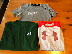 Lot of 3 Shirts Nike & Under Armour Youth Large L/XL Loose Fit Fitted Compressed