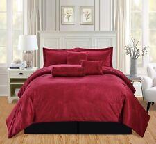 5Pc Twin Solid Burgundy Red/Black Micromink Velvet Comforter Set Warm Bedding