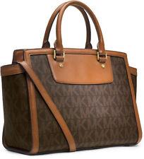 Michael Kors Selma Large Satchel Purse Bag Logo Brown w/ Gold NWT!