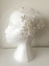 EVA Birdcage Veil Feather Rhinestone Blusher Wedding Fascinator Net Lace