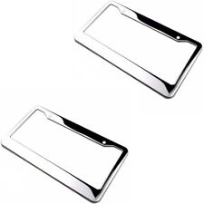 2 Piece Silver Stainless Steel Metal License Plate Frames Tag Cover Screw Caps