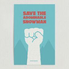 "ArtPrintJoy Save the Abominable Snowman Art Print Poster 12""x18"" Wall Art"