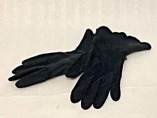 VINTAGE Women's Dress GLOVES BLACK FABRIC SCALLOPED Edges Size 7/7 1/2