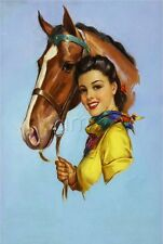 EQUESTRIAN COWGIRL PIN-UP GIRL HORSE HORSEBACK RIDING CALENDAR CANVAS ART PRINT
