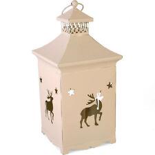 Reindeer / Christmas White Metal Lantern