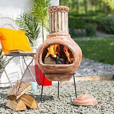 La Hacienda Calido Large 95cm Clay Chiminea Patio Heater Wood Burner