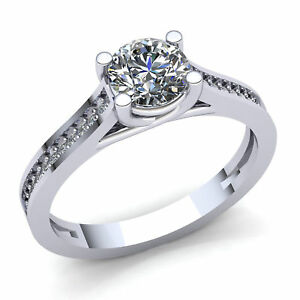Natural 0.5carat RoundDiamond Ladies Pave Solitaire Engagement Ring 14K Gold