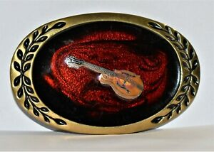 Guitar Belt Buckle, Heritage Buckles 1981 Solid Brass, OB9 Good Leaf Design Oval