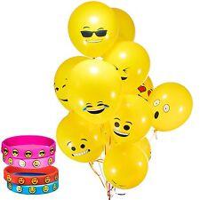 4 Emoji Smile Emoticon Silicone Bracelets & 36 Latex Emoji Smiley Face Balloons,