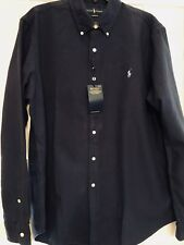 NEW RALPH LAUREN BUTTON DOWN SHIRT NAVY BLUE LONG SLEEVE WITH PONY  L