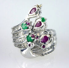Genuine  Ruby, Emerald & White Topaz  Peacock Ring .925  Sterling Silver Size 12