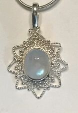 """Sterling Silver Moonstone Pendant And Necklace.  1"""" X 3/4""""."""