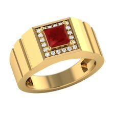 MEN'S 2.20 Ct Princess Cut Red Ruby Diamond Engagement Ring 14K Yellow Gold Over