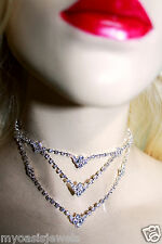 Austrian Crystal Rhinestone Necklace Choker Earring Set Bridal Prom Jewelry