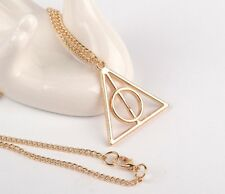 Deathly Hallows Pendant. Golden Harry Potter Necklace. Chain Charm FREE POSTAGE