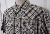 Mens RUSTLER Western Short Sleeve Shirt Pearl Snap Brown Metallic Plaid Size L