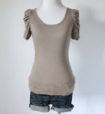 ALLOY Juniors Scoop Neck Ruched Short Sleeve Fitted Knit Tee Shirt Blouse Top XS