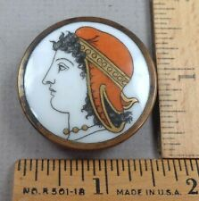 LIVERPOOL TRANSFER Antique BUTTON, Porcelain Set in Metal, Woman's Head, LARGE