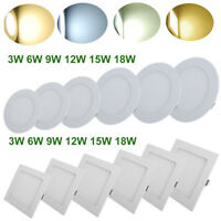 LED RECESSED DIMMABLE FLAT CEILING PANEL DOWNLIGHT FIXTURE ULTRA SLIM LAMP BULBS