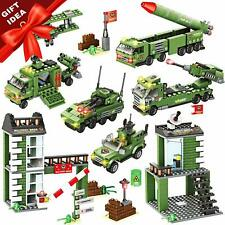 WishaLife 1219 Army Military Base Building Toy with Military Vehicles, Missile