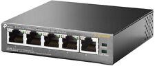 TP-Link TL-SF1005P 5-Port 10/100 Desktop Switch 4x PoE schwarz BRANDNEU