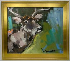 JOSE TRUJILLO FRAMED Oil Painting DEER Outdoors Wild Life Modern Exprressionism