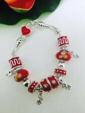 Red European Bead 925 Silver Snake Chain Charm Bracelet Four Leaf Clover Charms